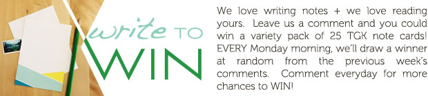 comment to win free note cards from the green kangaroo