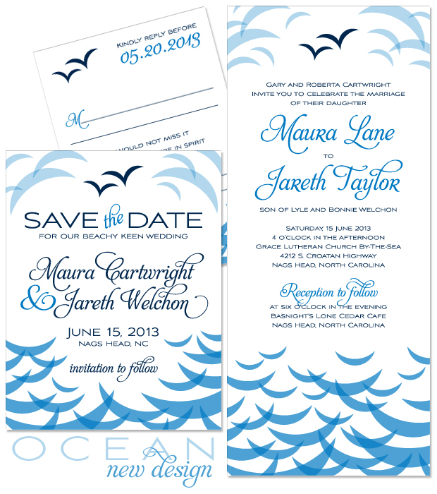 New Design: Ocean coastal wedding invitation