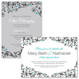 Olivia Rehearsal Dinner and Bridal Shower Invitations
