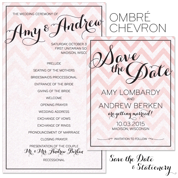 Ombré Chevron Save the Date and Program