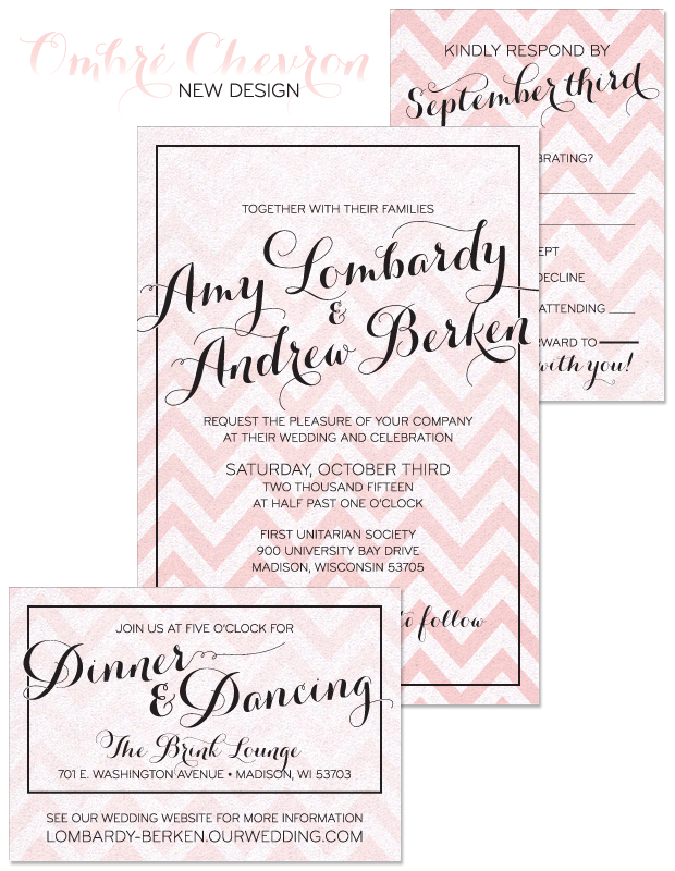 Ombre Chevron Wedding Invitation
