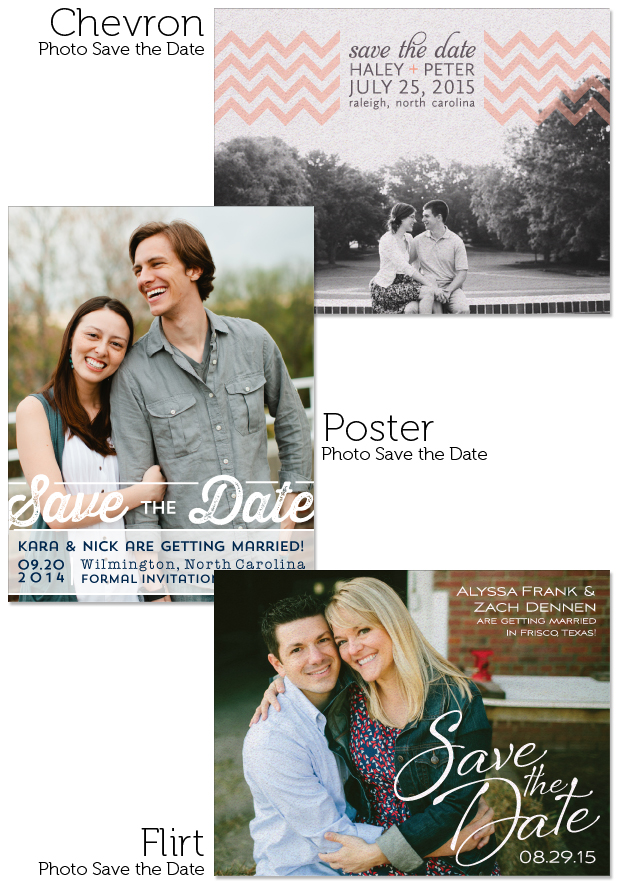1-sided Chevron, Poster and Flirt Photo Save the Dates