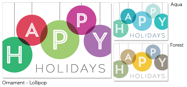 Ornament Holiday Folding Note Cards (Lollipop, Aqua & Forest)