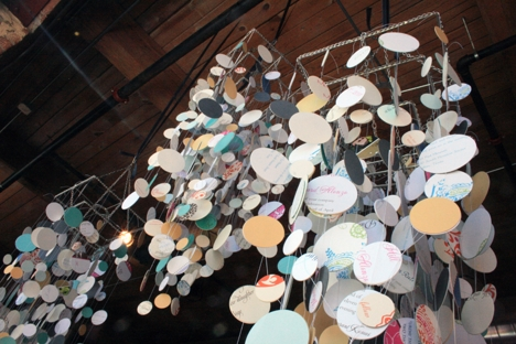 recycled wedding invitation paper chandelier
