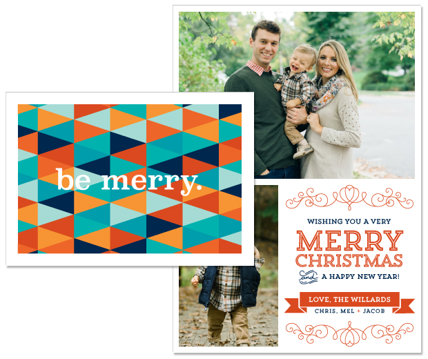 Patchwork folding holiday note card; Heart photo holiday card