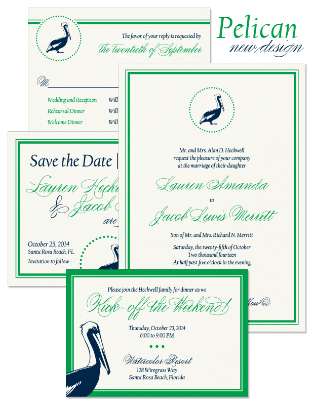 Pelican Wedding Invitation, Reply Card, Accessory Card, and Save the Date