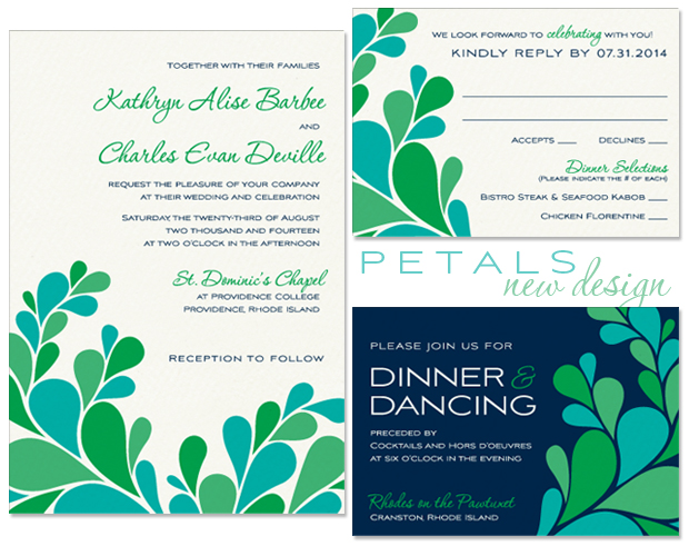 Petals Wedding Invitation, Reply Card and Accessory Card