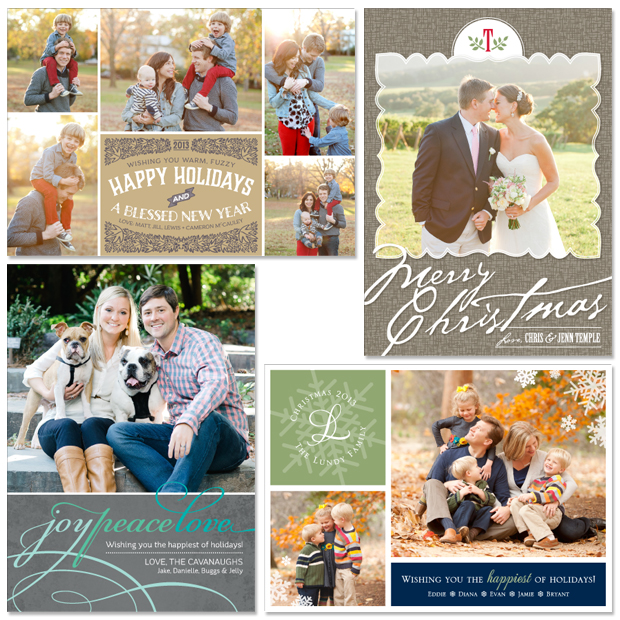 New Photo Holiday Cards: Burlap, Comfort, Garland, and Snowgram
