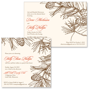 Pine Rehearsal Dinner and Bridal Shower Invitations