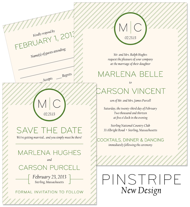 New Design: Pinstripe monogram wedding invitation