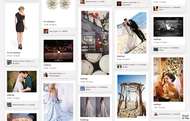 pinterest weddings screen shot