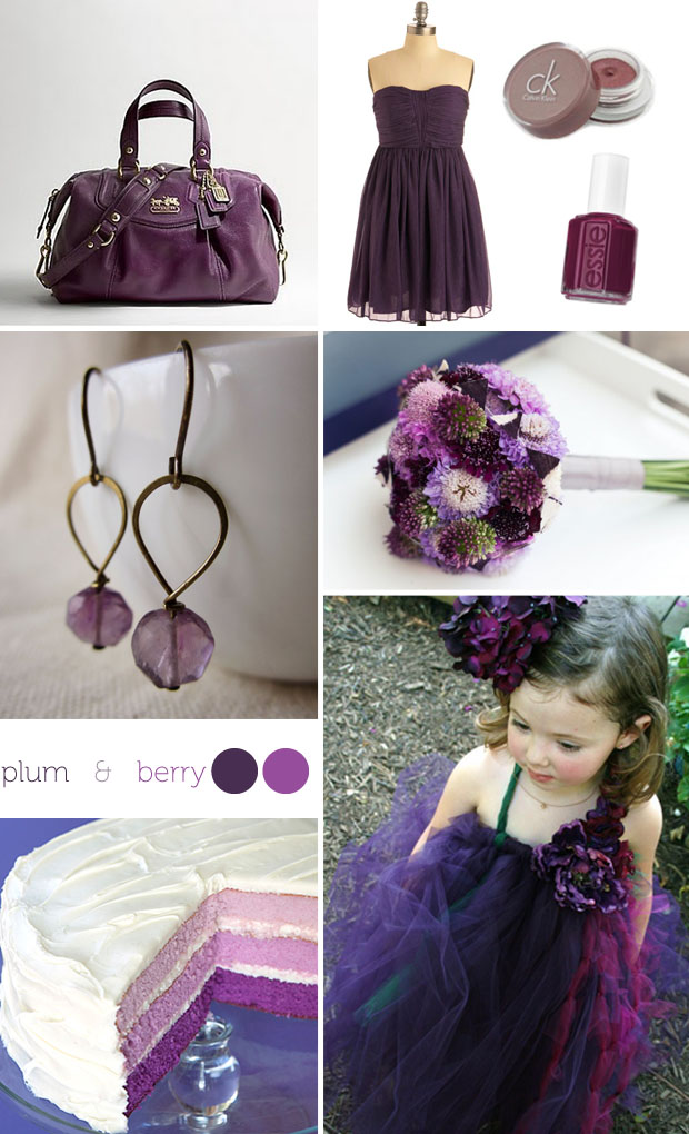 plum and berry wedding color inspiration board
