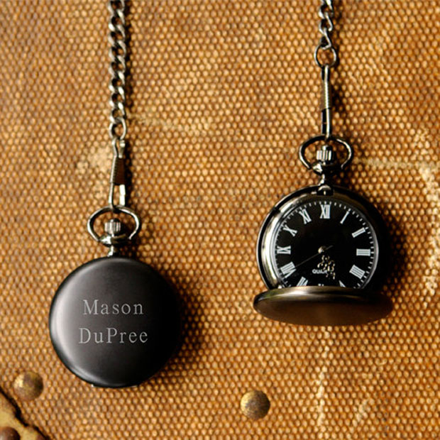groomsmen gift: engraved pocket watch
