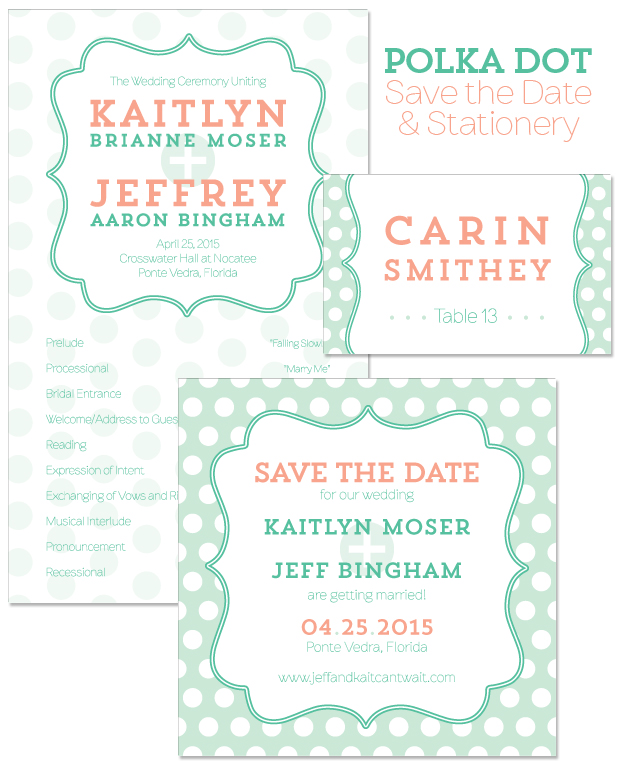 Polka Dot Save the Date, Program and Place Card