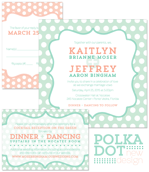 Polka Dot Wedding Invitation, Reply and Accessory