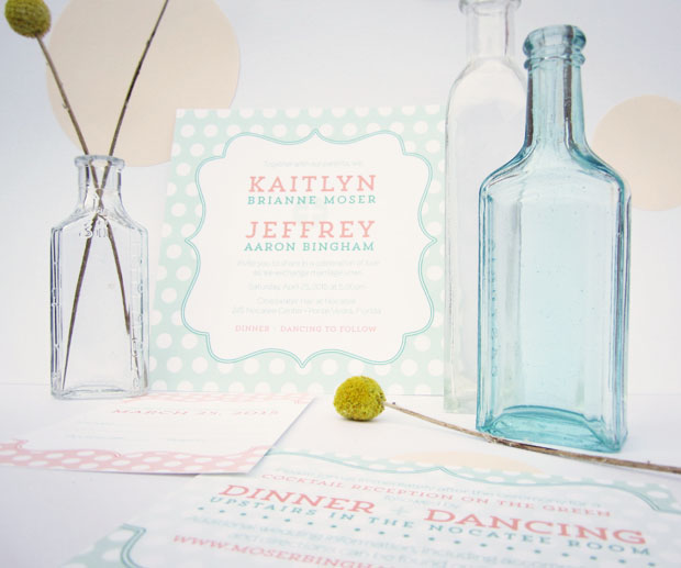 patterned polka dot wedding stationery