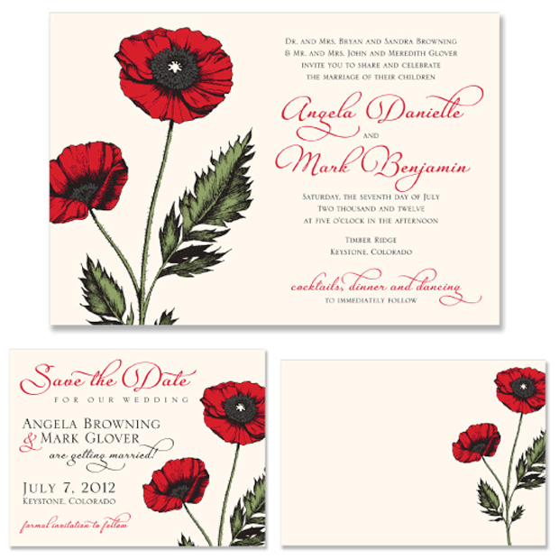 New Design Poppy Wedding Invitation Don 39t forget to order matching note