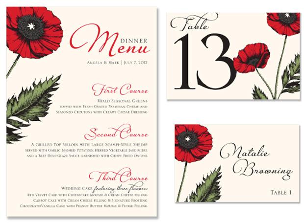 Poppy New Design Wedding Day Stationery
