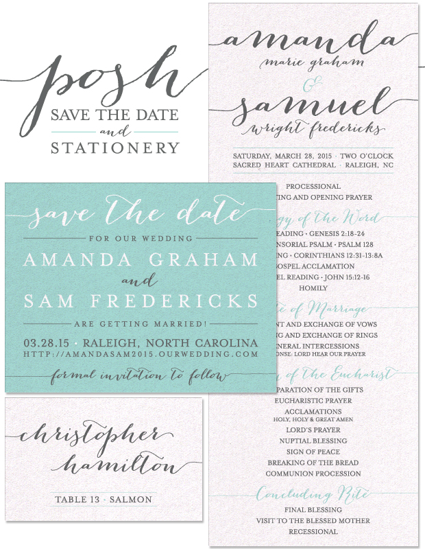 Posh Save the Date and Wedding Day Stationery