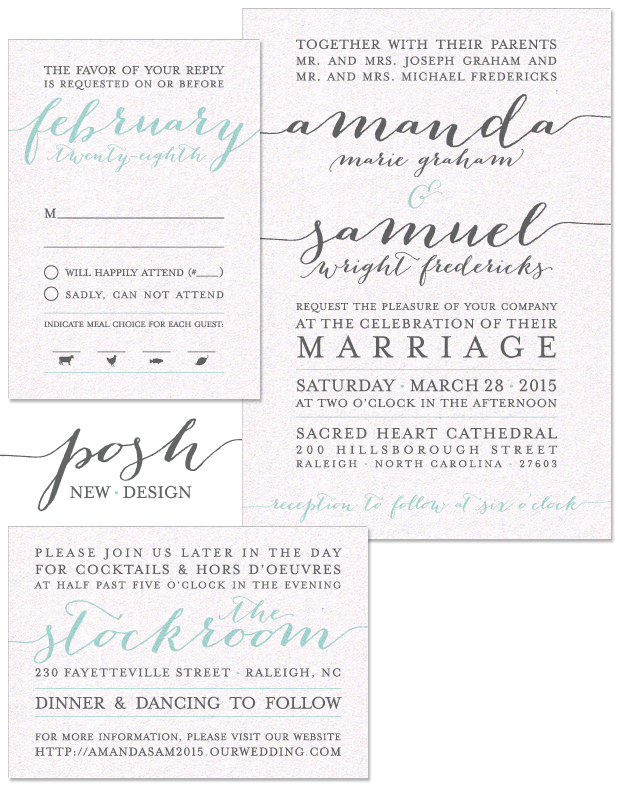 Posh Wedding Invitation, Reply and Accessory