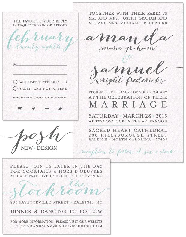 Posh Wedding Invitation, Reply and Accessory