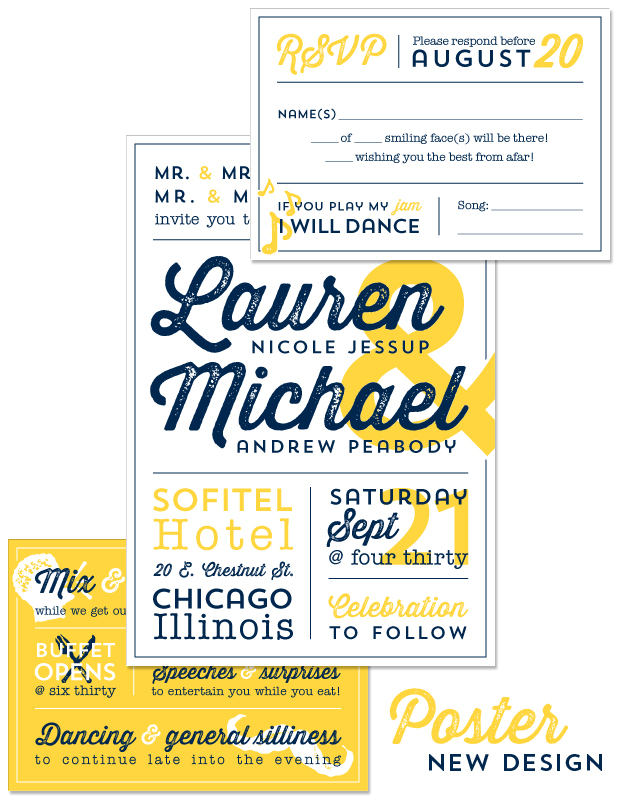 Poster Wedding Invitation, Reply and Accessory Card