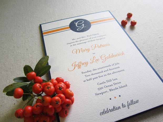 preppy monogram pocket wedding invitation