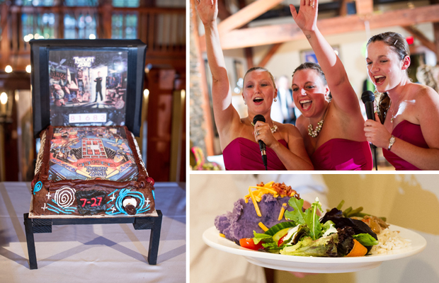Reception: Groom's cake, purple mashed potatoes, bridesmaids sing karaoke