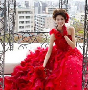 Red floral wedding gown