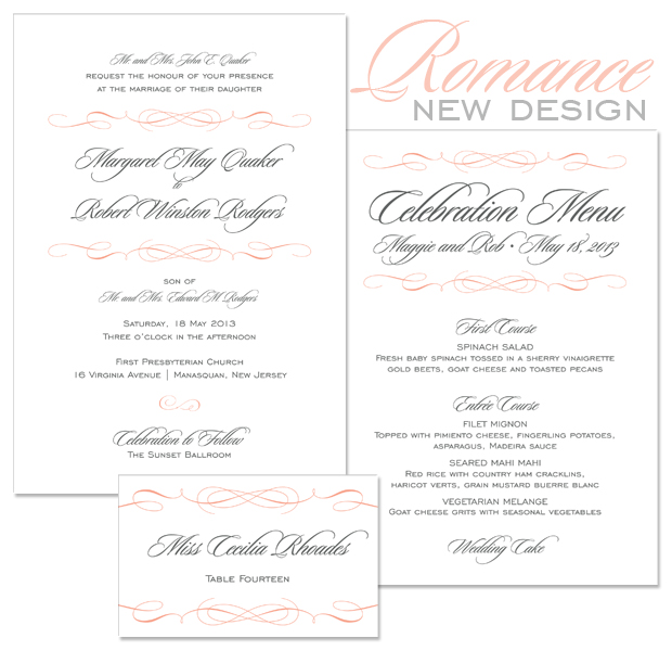 Romance wedding invitation, menu and place card