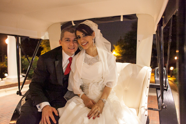 Saja + Aaron -- newlyweds in a horse-drawn carriage surprise!
