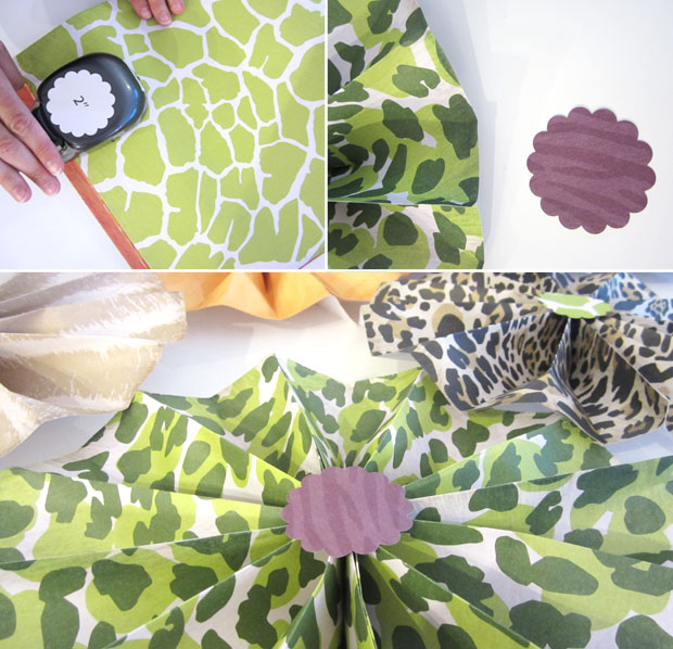 safari animal patterned paper pinwheels