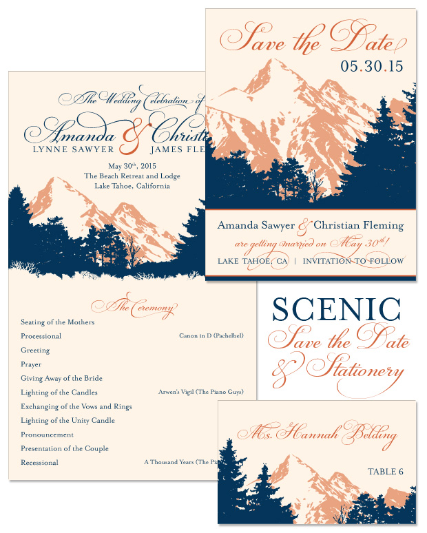 Scenic Save the Date, Program and Place Card
