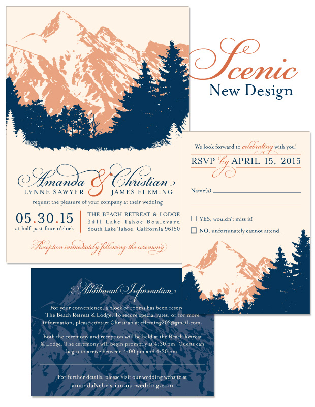 Scenic Invitation, Reply and Accessory Card