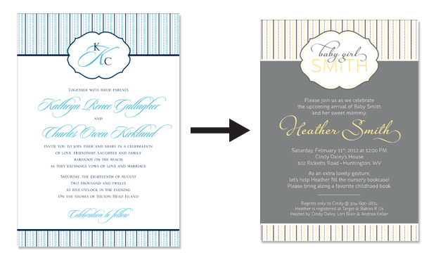 Seersucker wedding invitation and baby shower invitation