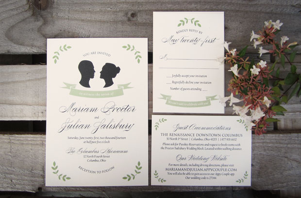 custom designed silhouette wedding stationery