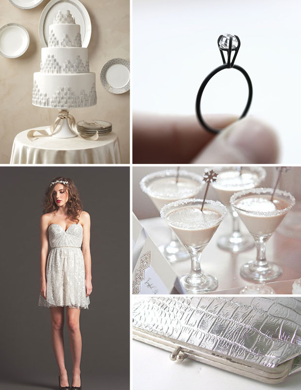 color: silver wedding day inspiration board