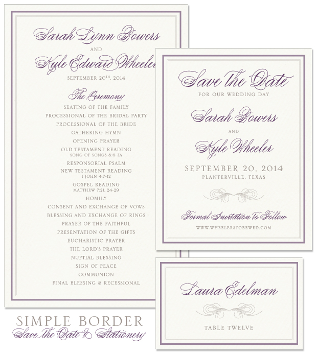 Simple Border Save the Date, Program and Place Card