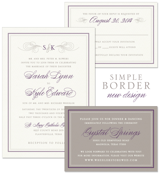 Simple Border Wedding Invitation, Reply and Accessory