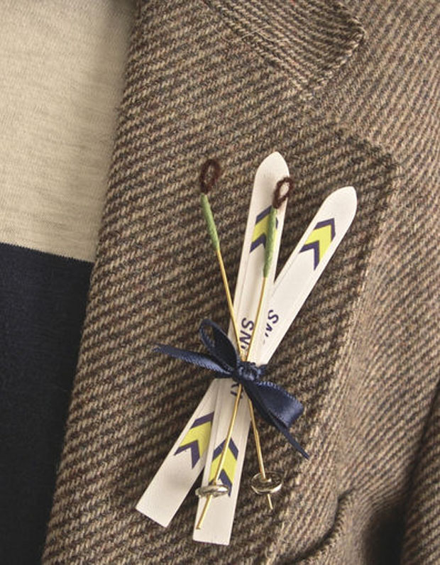 winter wedding: snow ski boutonniere