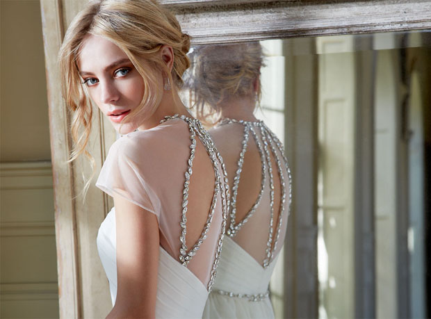 sparkly crystal back-detailed wedding dress