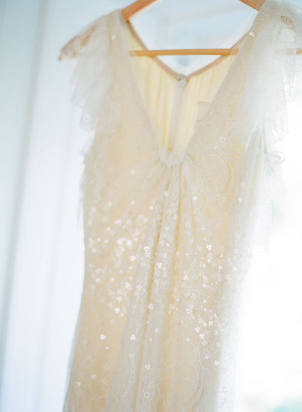 subtly shimmery wedding dress