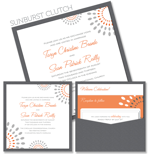 Sunburst Square Clutch Wedding Invitation