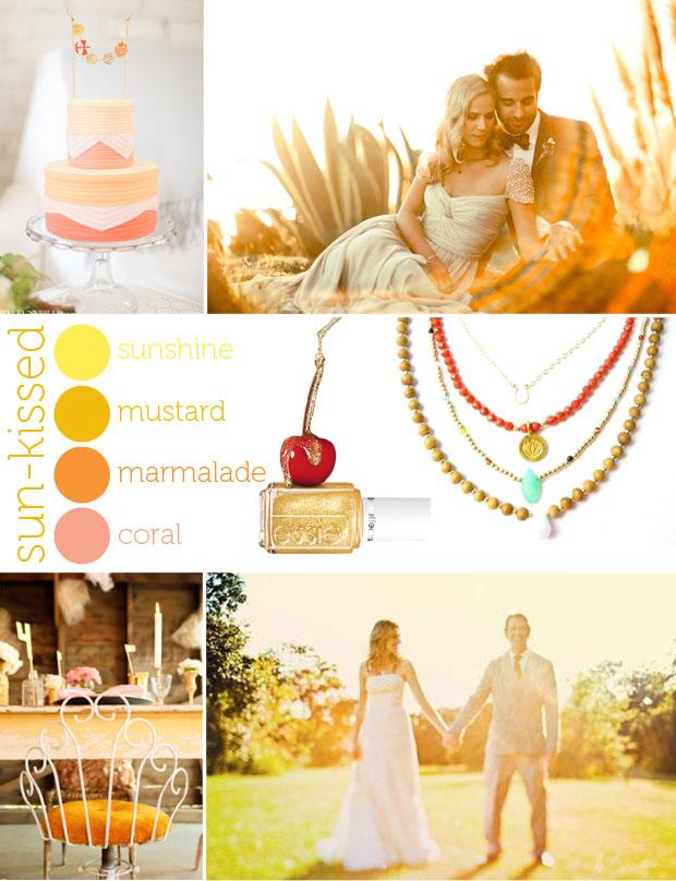 sun-kissed wedding inspiration board