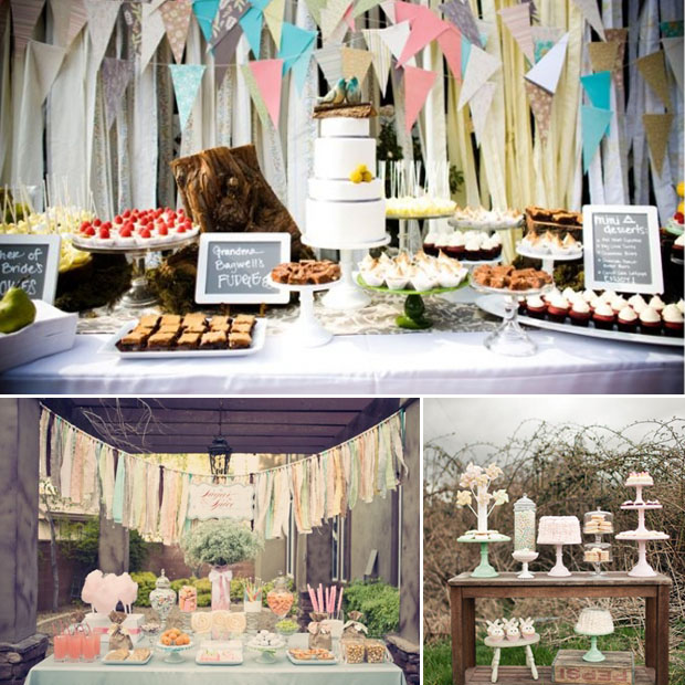 dessert tables with banners and a vintage look