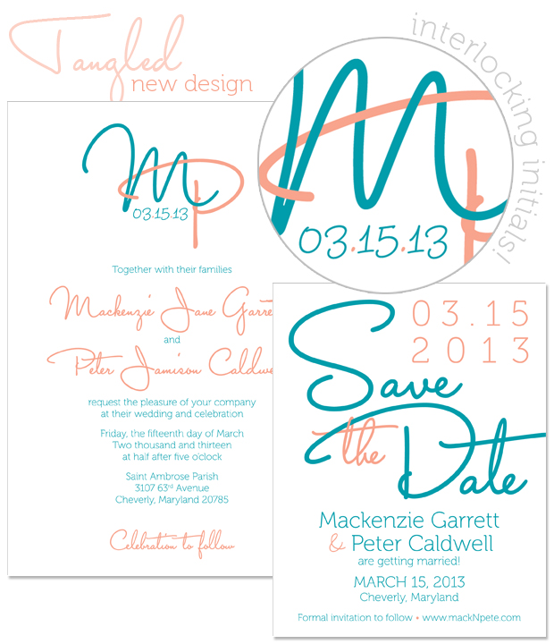 Tangled Monogram Invitation and Save the Date