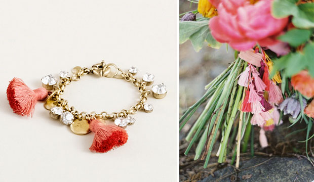 tassel bracelet from j. crew and diy tassel bouquet accessory