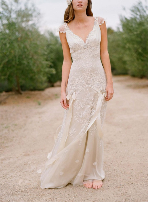vintage taupe lace wedding gown | rustic wedding dress