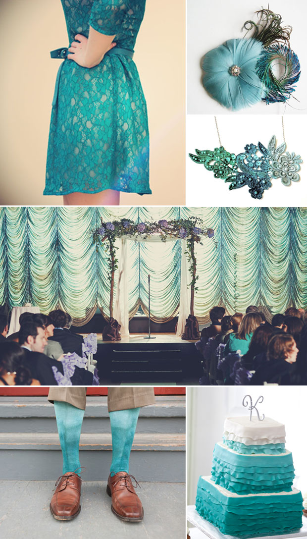 teal, ombre, lace wedding details and inspiration