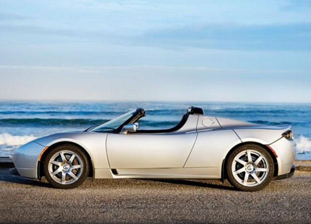 tesla roadster wedding getaway